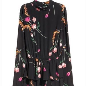 H&M Black/Floral Peplum Dress